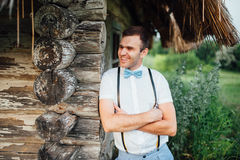 Groom portrait on a park at wedding day Royalty Free Stock Photos