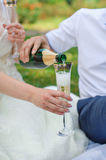 Groom pouring for bride champagne into the glass in the summer p Royalty Free Stock Photo