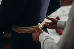 Groom preparations before wedding. Close up Royalty Free Stock Photography