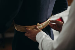 Groom preparations before wedding. Close up Stock Photo