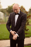 Groom preparing to meet his bride Royalty Free Stock Photography
