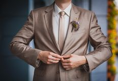 Groom is preparing for a wedding celebration Royalty Free Stock Image