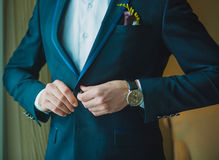 Groom is preparing for a wedding celebration Stock Photo