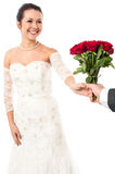 Groom presenting beautiful bride love roses Stock Images