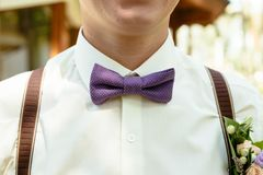 Groom purple color bow tie with  boutonniere stock photo