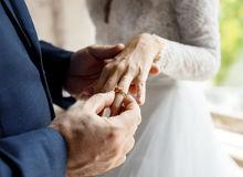 Groom Put on Wedding Ring Bride Hand Royalty Free Stock Photography