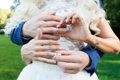 Groom put the wedding ring on bride`s finger. Close up Stock Photography