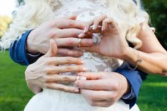 Groom put the wedding ring on bride`s finger. Close up Stock Image