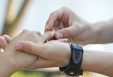 The groom puts on the ring bride. Hands close-up Royalty Free Stock Images