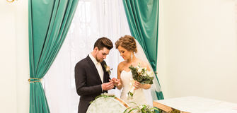 Groom puts the ring on the bride's hand in marriage registry office Stock Photo