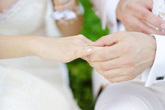 Groom putting a ring on bride's finger Stock Photo
