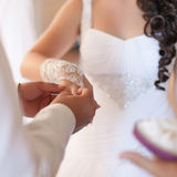 Groom putting a ring on bride's finger during wedding ceremony Stock Images