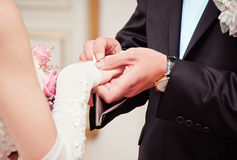 Groom putting a wedding ring on bride's finger Stock Photography