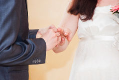 Groom putting a wedding ring on bride's finger Royalty Free Stock Image