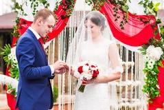 Groom putting wedding ring on bride's finger.  stock images