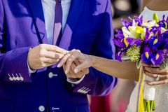 Groom is putting the wedding ring on bride's finger. Groom in purple is putting the wedding ring on bride's finger stock photography