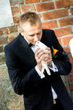 Groom releasing white dove Stock Photo