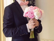 Groom with Rose Bow Stock Photo