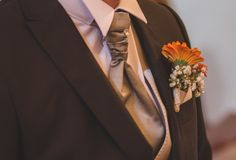 Groom`s bouquet with tie royalty free stock image