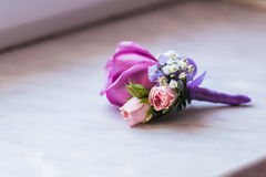 Groom's boutonniere closeup royalty free stock images