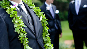 Groom's flowers - hawaiian wedding Stock Photos