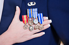 Groom's Military Medals Royalty Free Stock Photo