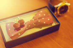 Groom`s morning. Classic wedding men`s accessories - watches, co Stock Images