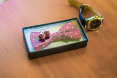 Groom`s morning. Classic wedding men`s accessories - watches, co Royalty Free Stock Photography