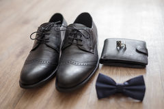 Groom's morning. Wedding accessories. On wooden background Stock Photo