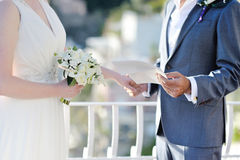 Groom`s speech to the bride during wedding ceremony Royalty Free Stock Photo