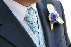 Groom's tie. Traditional clothes of the groom - an elegant tie with a pin and a suit with a waistcoat Royalty Free Stock Photo