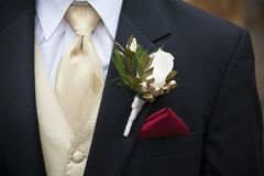 Groom`s Tuxedo with Boutonnière royalty free stock images