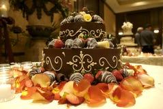 Groom's Wedding Cake. Closeup of groom's wedding cake and table setting Stock Photography