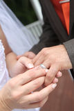 Groom's wedding ring stock photography