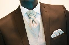 Groom's wedding suit detail on a mannequin Royalty Free Stock Images