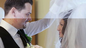 Groom sees bride first stock video