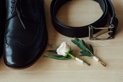 Groom set clothes. shoes and bow tie Royalty Free Stock Photography
