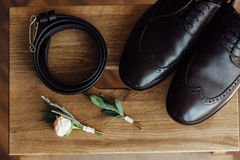 Groom set clothes. shoes and bow tie Royalty Free Stock Image