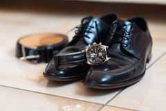 Groom set clothes. Watch, shoes, bow tie Stock Photography