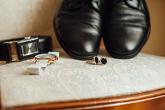 Groom set clothes. Watch, shoes, bow tie Royalty Free Stock Images