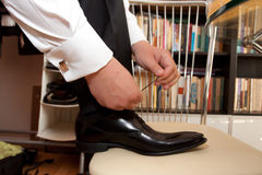Groom shoes Stock Photo