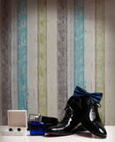 Groom Shoes. On a white table Royalty Free Stock Photos