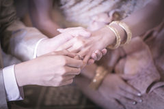 Groom slipping  ring on finger of bride in wedding ceremony. Royalty Free Stock Photography