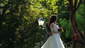 Groom softly kisses bride in the green park stock video