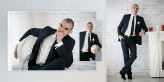 Groom standing near fireplace Stock Images