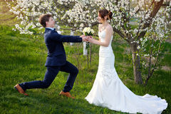 Groom standing on one knee and gives bride a wedding bouquet Royalty Free Stock Photography