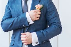 Groom straightens the flower in his buttonhole Stock Images