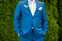 Groom suit. Eady for the big wedding ceremony. Groom with bride. Hugs Royalty Free Stock Image