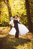 Groom in suit hugging and spinning bride at autumn park Stock Image
