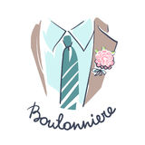 Groom suit, shirt, tie and boutonniere close up. Royalty Free Stock Photography